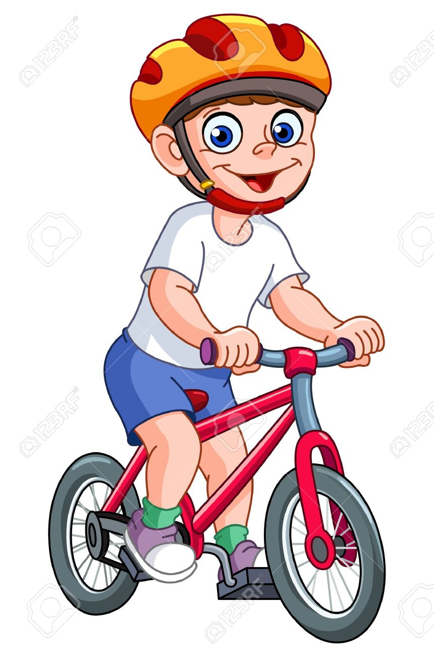 Cute kid riding his bicycle.