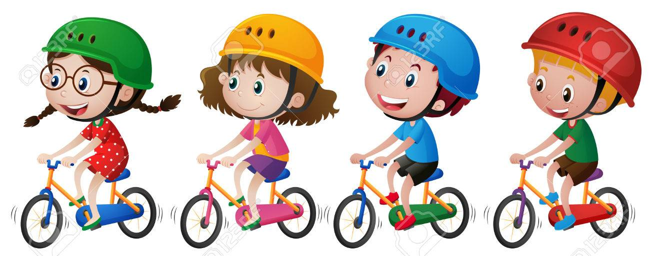 Four kids riding bike with helmet on illustration.