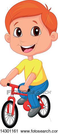Boy cartoon riding bicycle Clipart.