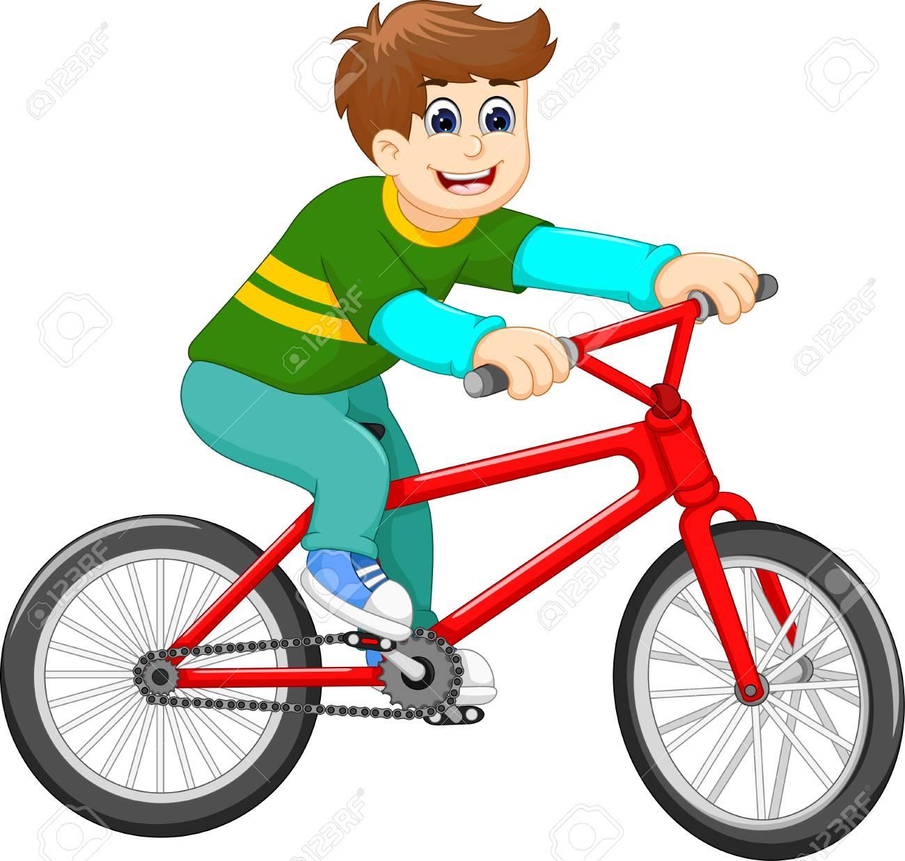 Funny boy riding bicycle cartoon.