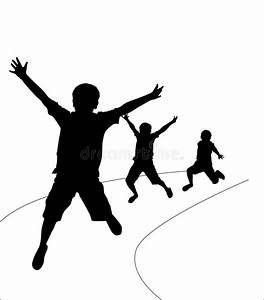 illustration of several kids running clipart black and white.