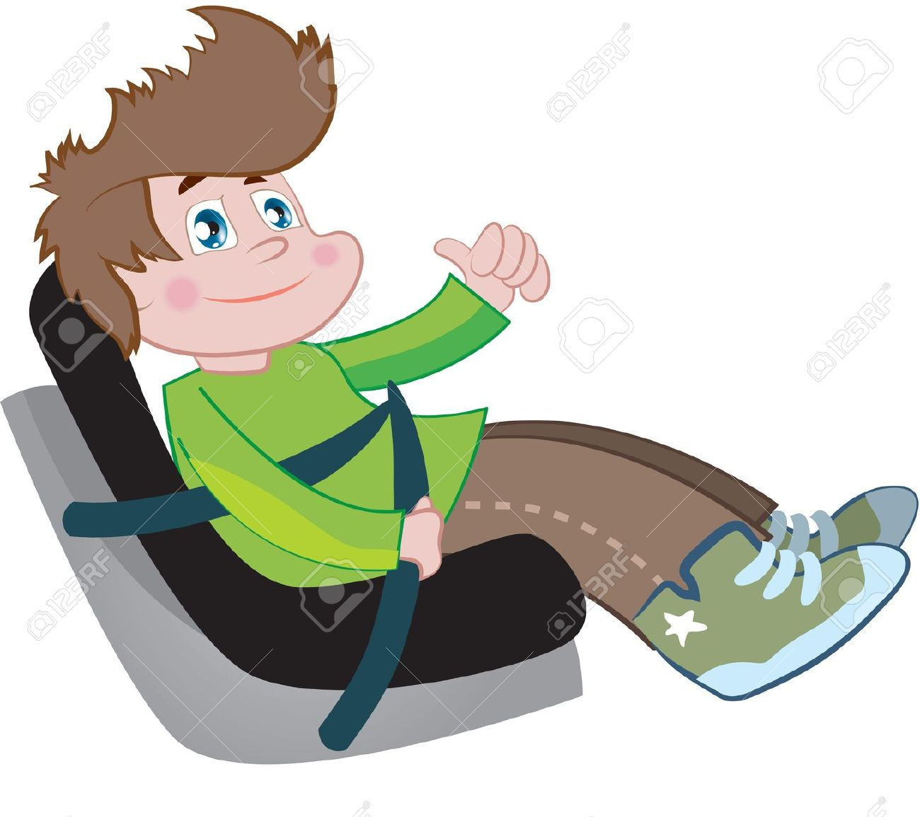 Kid on car seat clipart.