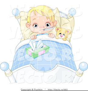 Child Sick In Bed Clipart.