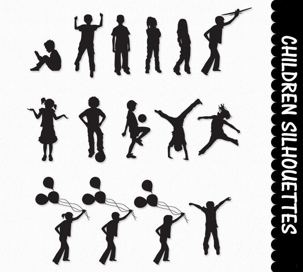 Children Clip Art Kids Silhouette Graphics Clipart Scrapbook.