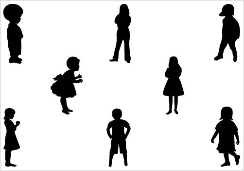 Children Clipart Silhouette.