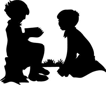 Children Silhouette Clip Art.