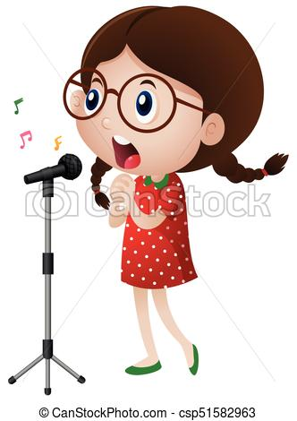 Happy girl singing on microphone.