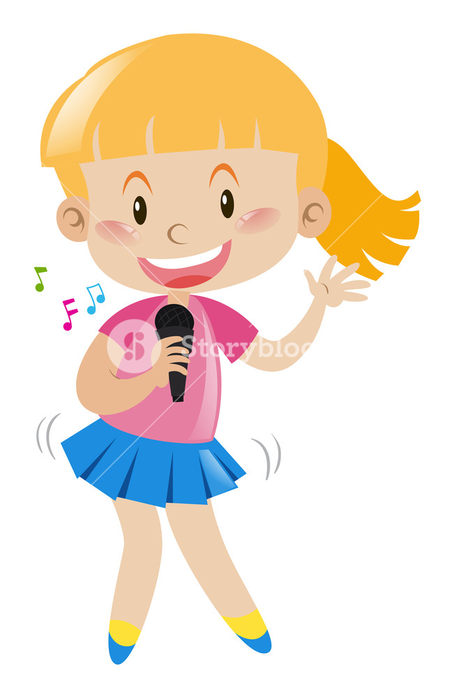 Girl with microphone singing and dancing illustration Royalty.