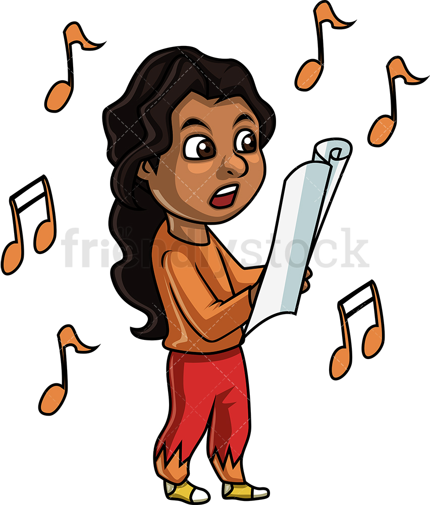 Black Girl Singing Cartoon Clipart Vector.