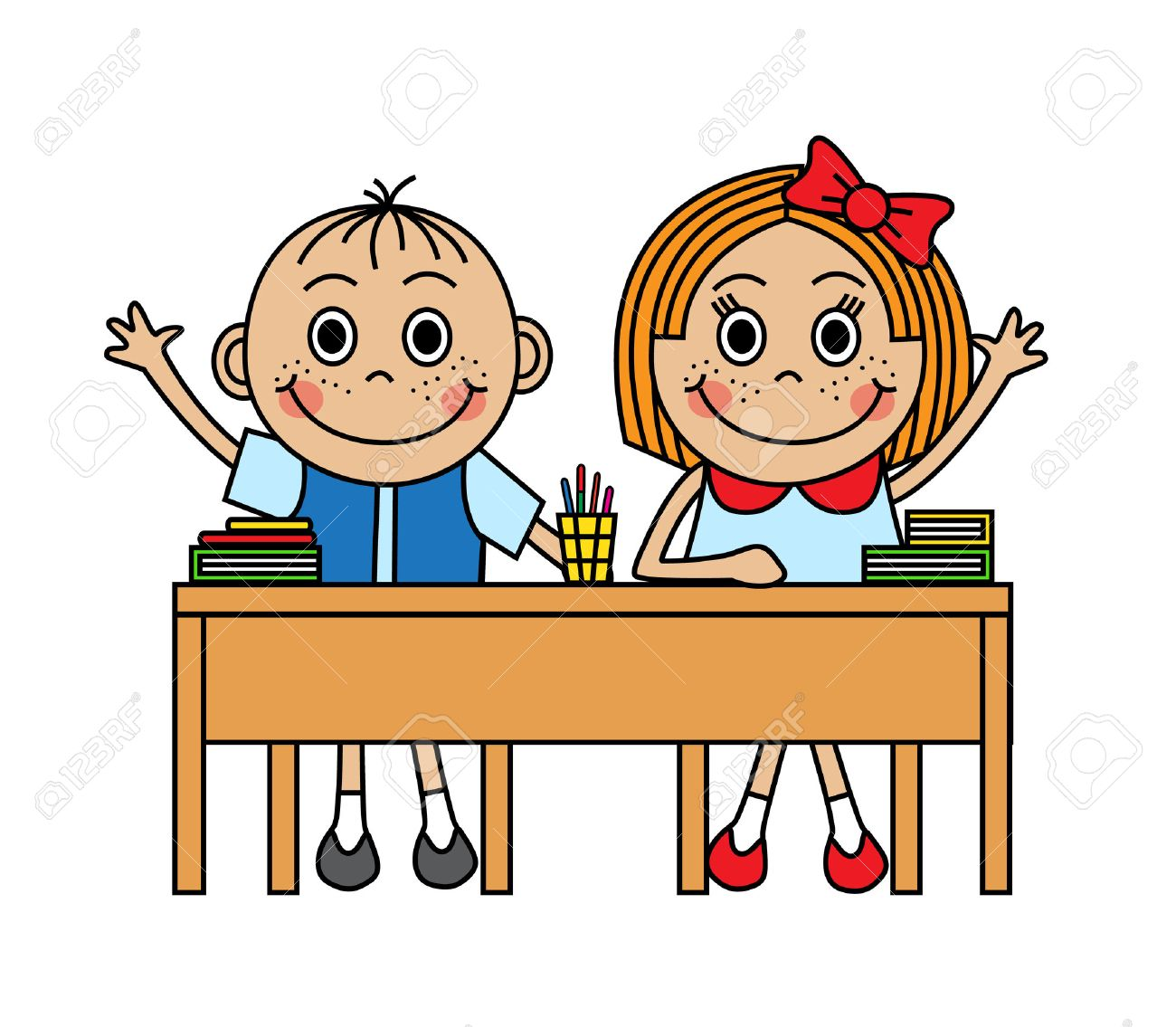 Cartoon children sitting at school desk and pull hand to answer.