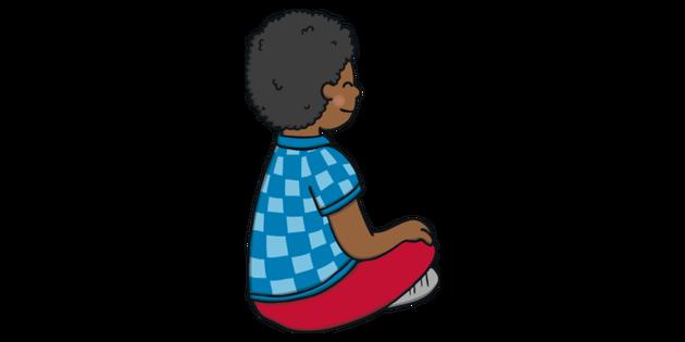 Boy Sitting Cross Legged 2 English PlanIt KS1 Illustration.