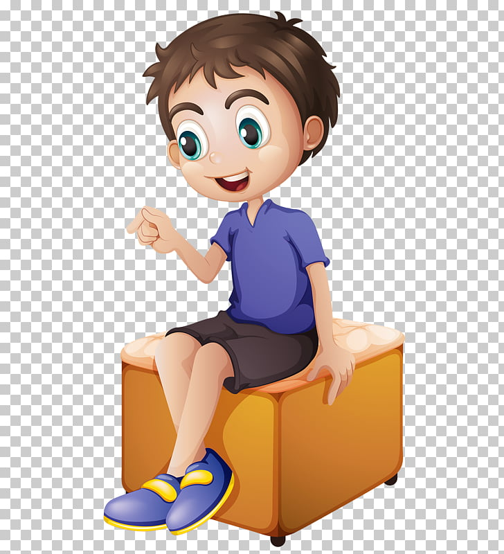 Chair Child, sitting boy PNG clipart.