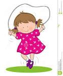 Children skipping clipart.