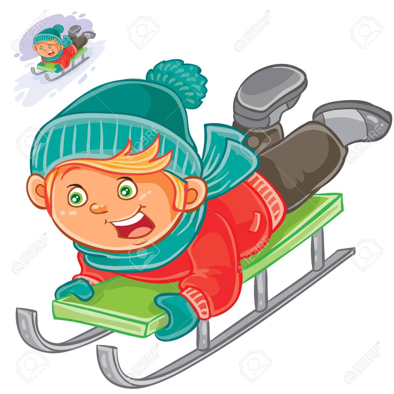 Vector winter illustration little child slides on a sled.