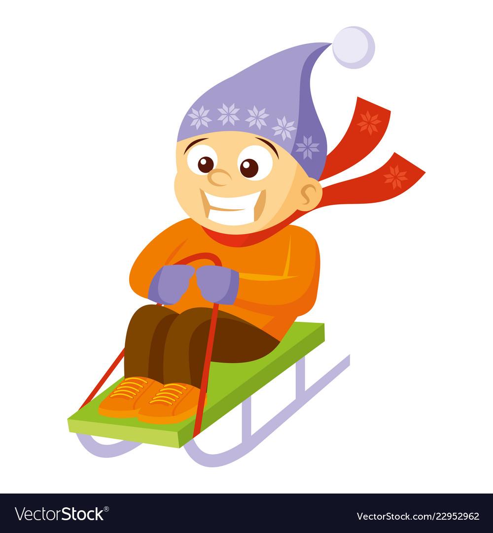 Boy sledding cartoon character winter.