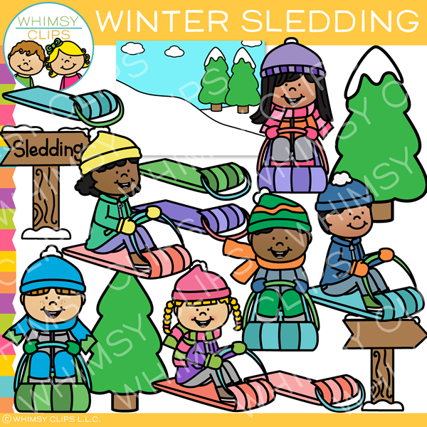 Kids Winter Sledding Clip Art.