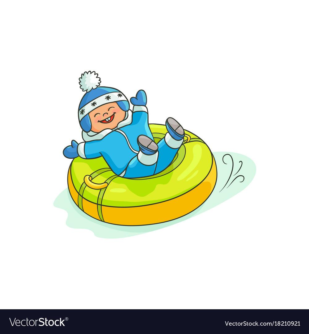 Flat boy kid in inflatable tube sled.