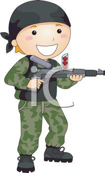 Kid soldier clipart.