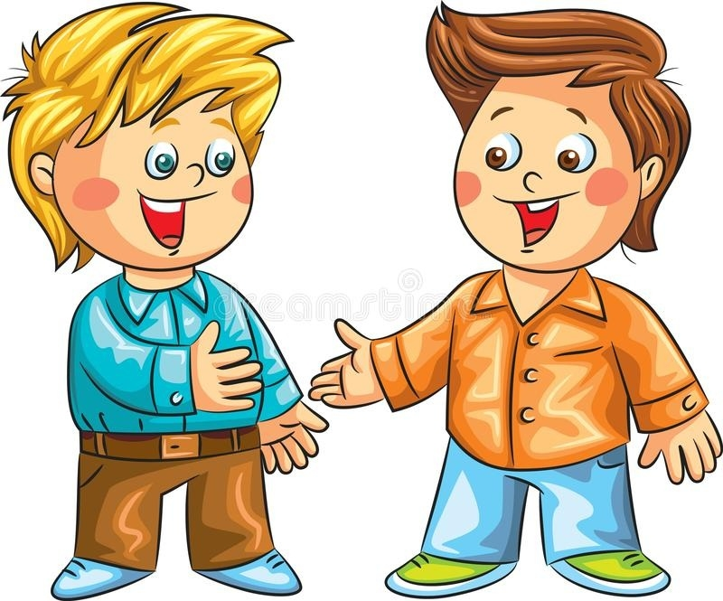 Two Kids Talking Clipart.