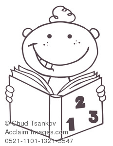 Clip Art Picture of Coloring Page of a Boy Studying Match From a Book.