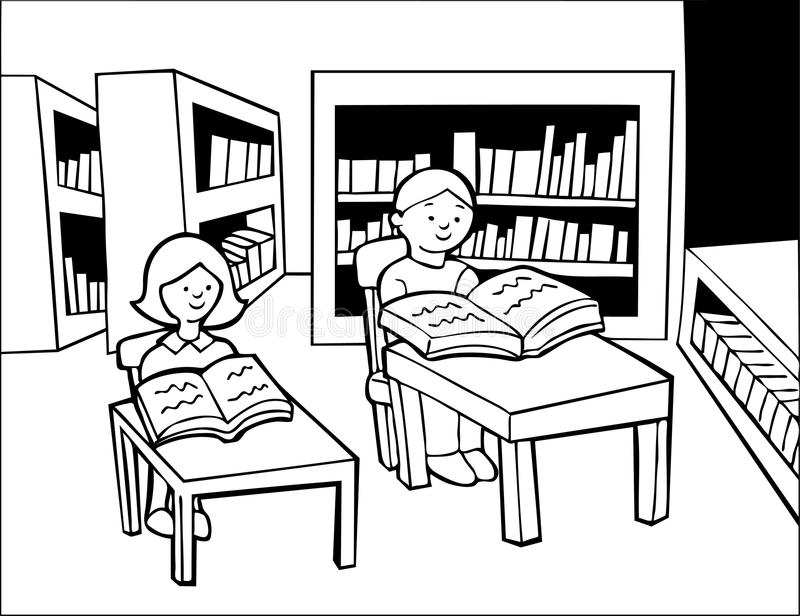 Library Quiet Stock Illustrations.