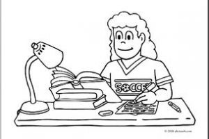 Kid studying clipart black and white 1 » Clipart Portal.