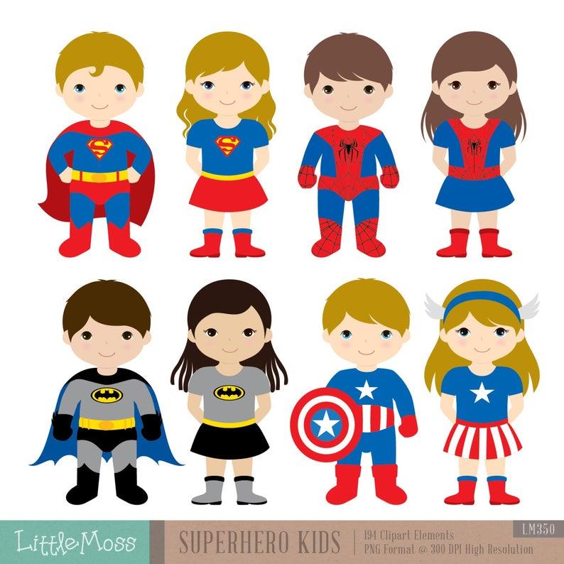 36 Kids Superhero Costumes Clipart, Superheroes Kids Clipart, Superheroes  Clipart, Super Hero Clipart, Superhero Boys, Superhero Girls.