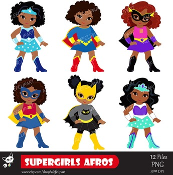 Girls Superhero clip art, Supergirl clipart, African american, Multicultural.