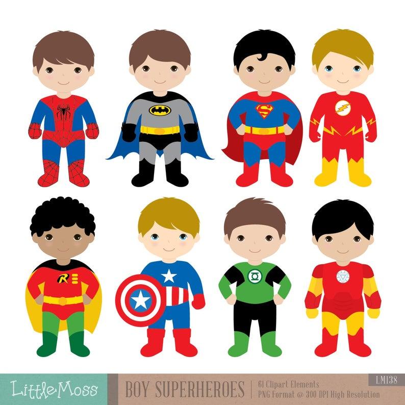 Boys Superhero Costumes Clipart 1, Boy Superheroes, Superheroes Clipart.