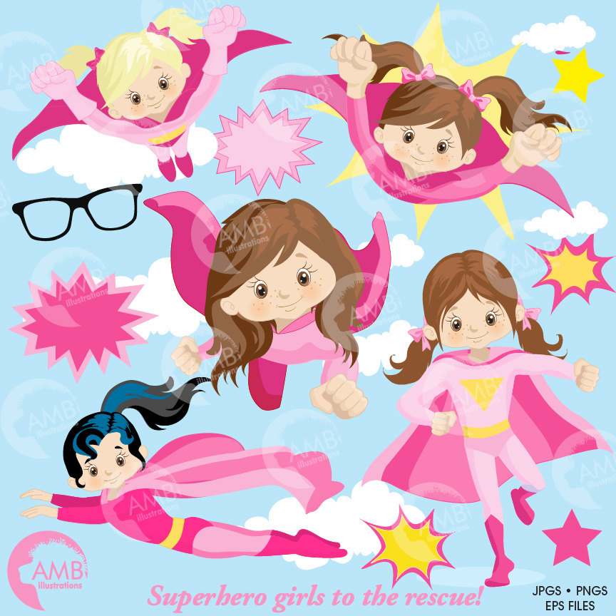 Superhero Clipart, Super Hero Clipart, Super Hero Girls Clipart, Super Girl  in Pinks, AMB.