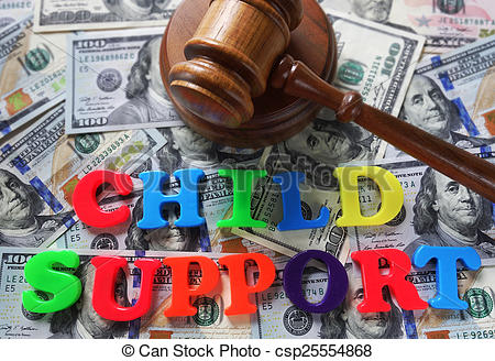 Stock Image of Child Support letters with gavel and cash.