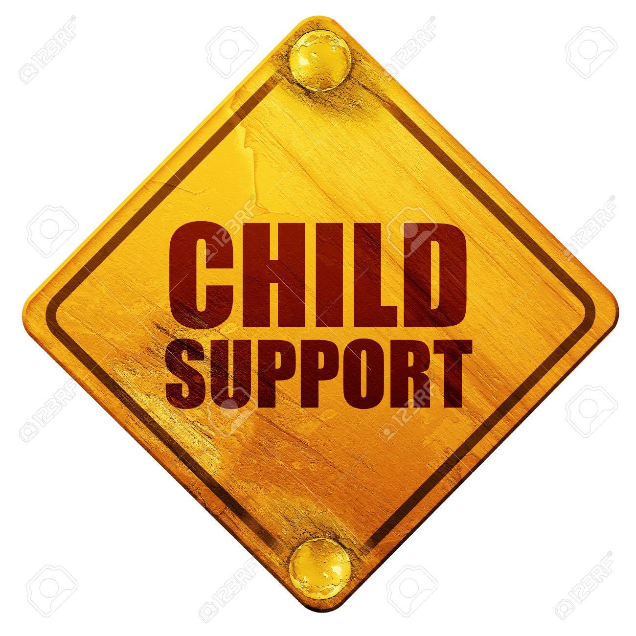 Child Support, 3D Rendering, Yellow Road Sign On A White.