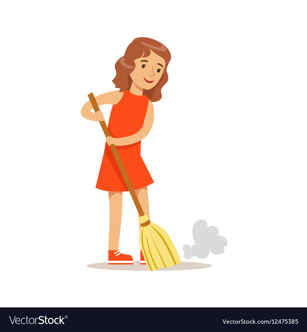 Girl Sweeping The Floor With The Broom Smiling.