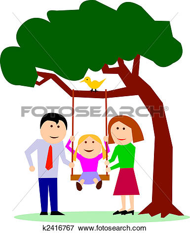 Stock Illustration of Parents with child on a swing u10402885.