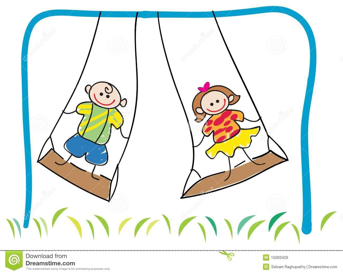 Swinging Children Royalty Free Stock Images.