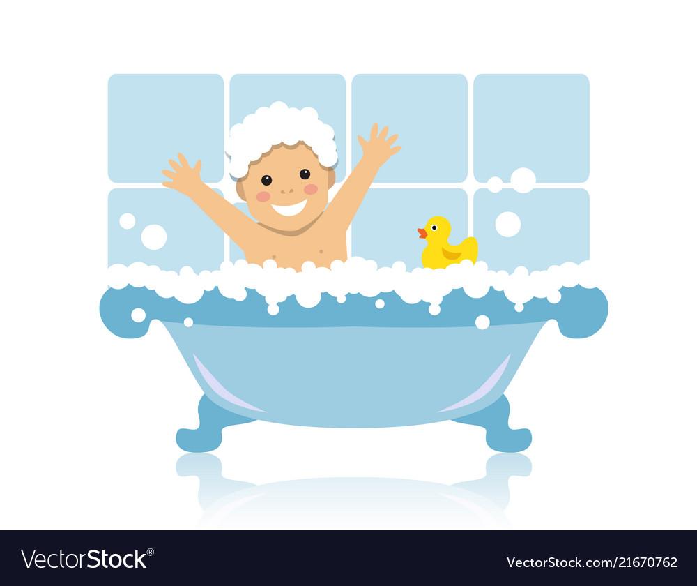 Kid takes a bath.