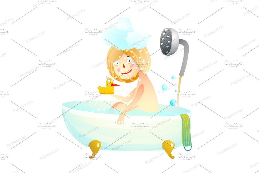 Little Kid Girl Taking a Shower Bath.