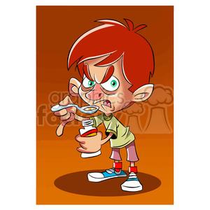 vector cartoon child taking his medicine clipart. Royalty.