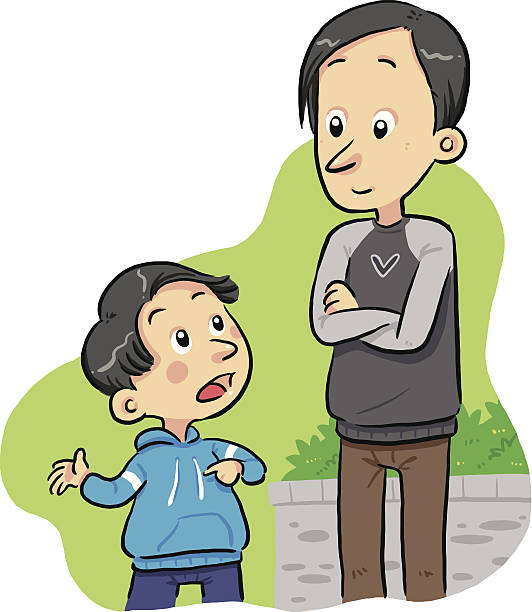 Parent And Child Talking Clipart.