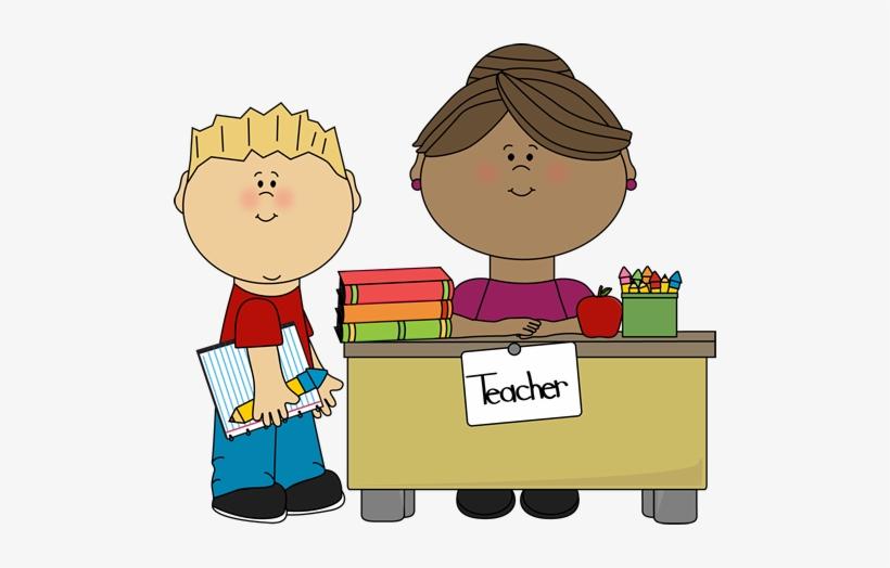 Child Talking To Teacher Clipart.