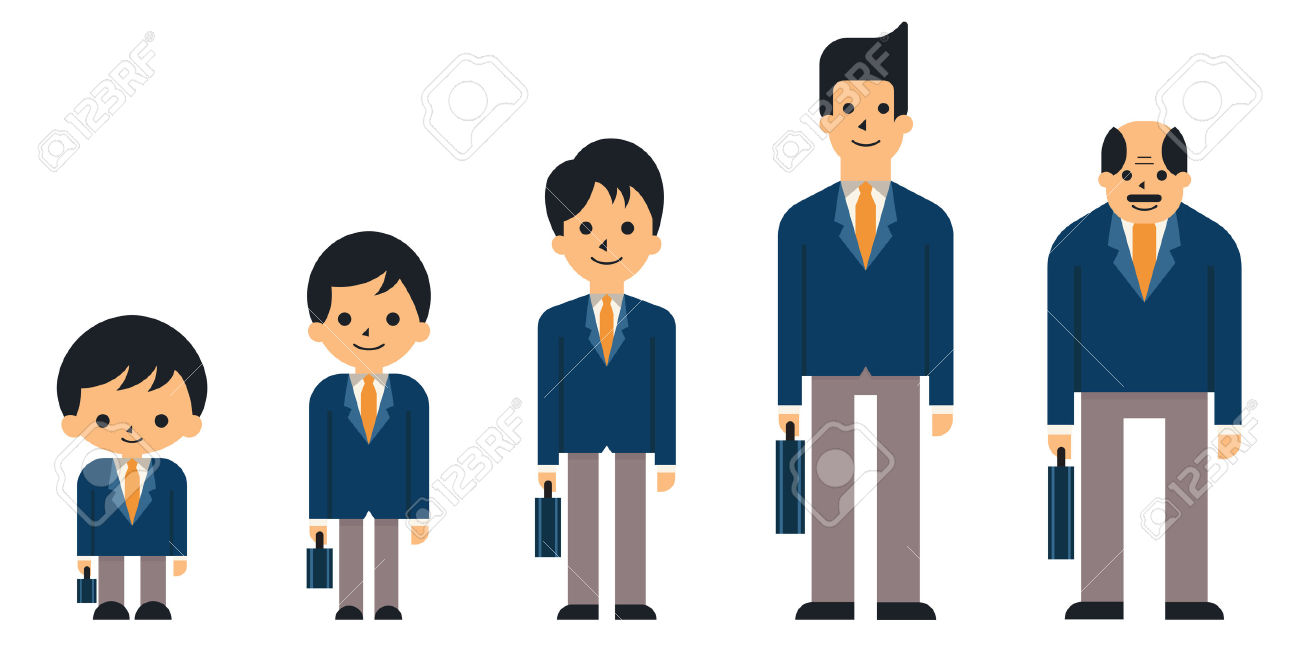 Business People In Generation, From Child, Boy, Teen, Young Adult.