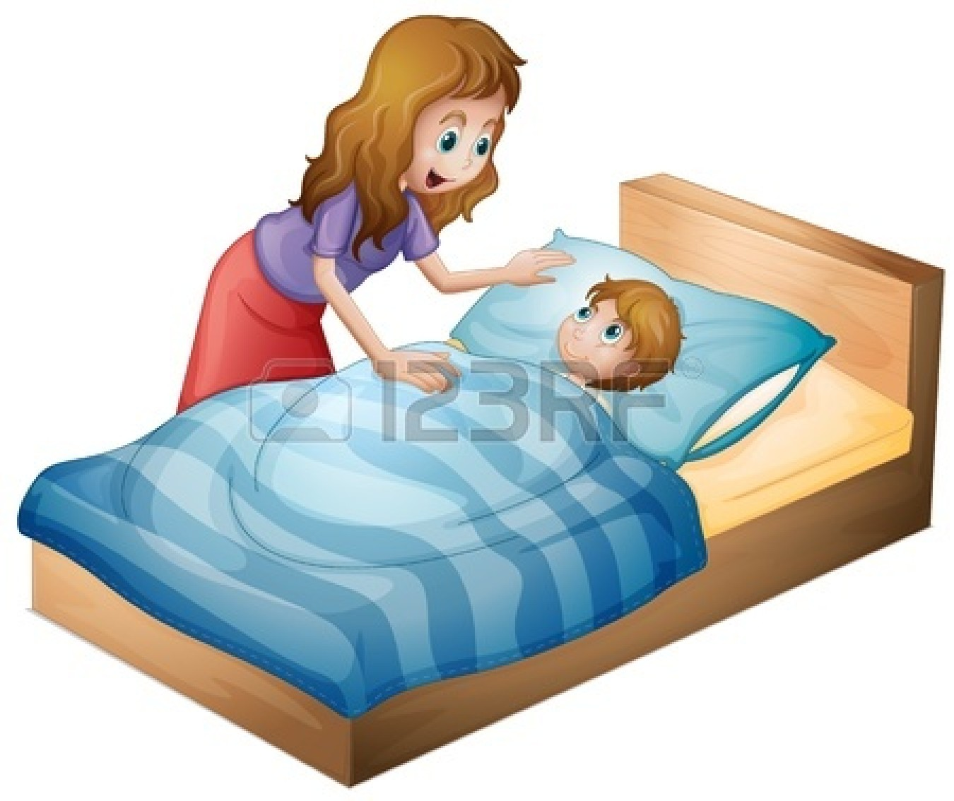 Mom Waking Up Child Clipart.