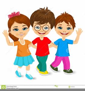 School Children Walking Clipart.