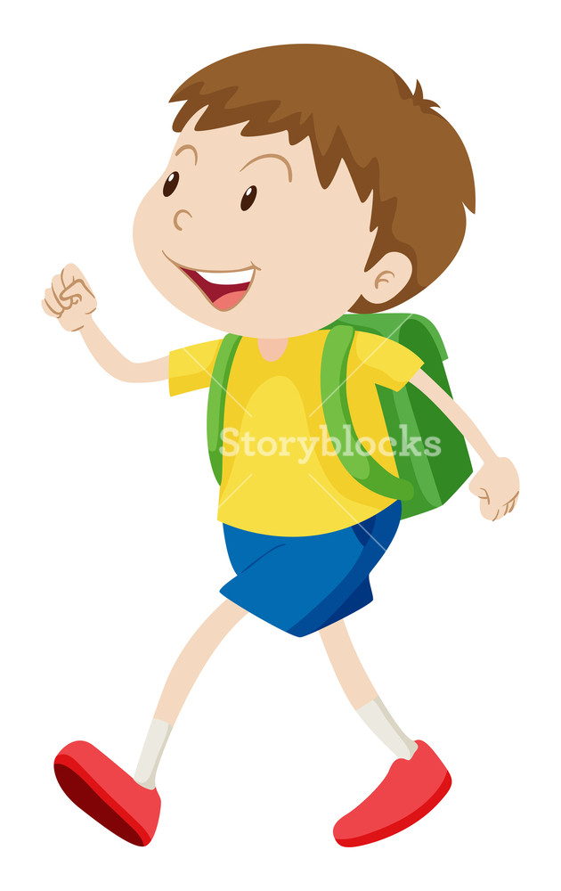 Little boy with schoolbag walking illustration Royalty.