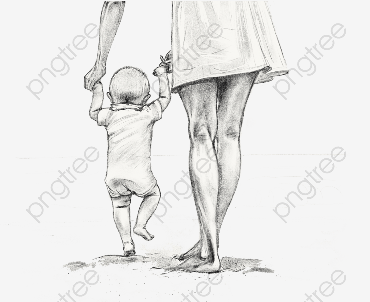 Mother Holding A Child Walking Hand Drawn Sketch Baby, Walking.