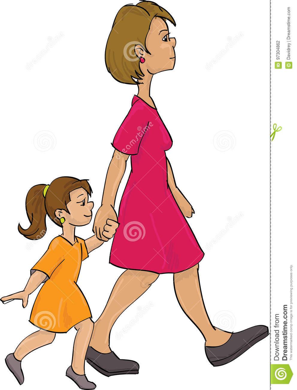 Mother and child walking stock illustration. Illustration of child.
