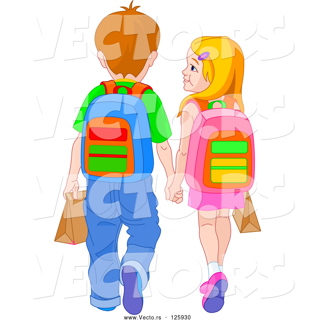 Vector of School Boy and Girl Holding Hands and Walking by Pushkin.