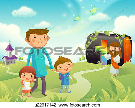 Clip Art of Father walking with his children and Jesus Christ.