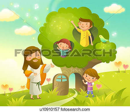 Child Walking With Jesus Clipart.