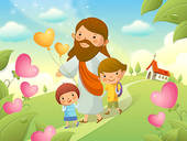 Stock Illustration of Jesus Christ walking with two children.